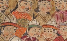 Detail of painting showing a crowd of men, focusing on their faces.