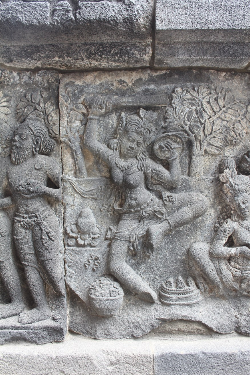 Candi Siwa at Prambanan, relief carving with female practitioner performing an esoteric dance