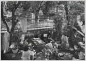 Black and white: people around a table watch a small television in a shaded garden.