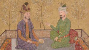 two mughal men speaking, detail from an artwork