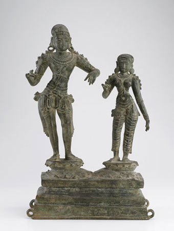 Bronze sculpture of two figures, Saint Sundarar and Paravai