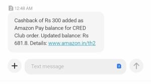 Amazon Pay Cred Cashback Offer Proof