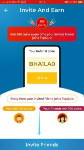 TopQuiz App Refer and Earn 02