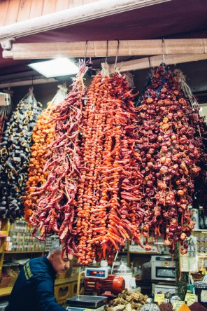 Dried Paprika hanged from the ceiling