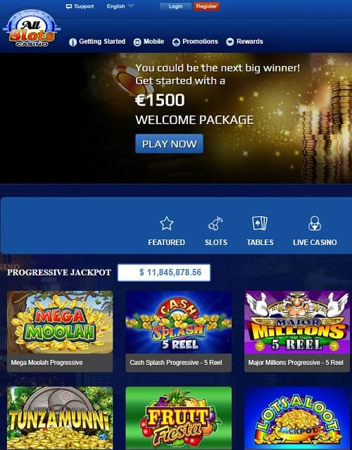 All Slots Casino 100 free spins bonus
