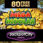 Jackpot City Casino – 80 free spins bonus on Mega Moolah Jackpot