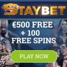 Staybet Casino | 100 free spins and €500 deposit bonus | Review