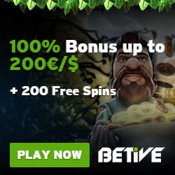 Betive Casino | 310 free spins plus 100% up to €500 bonus | Play now!