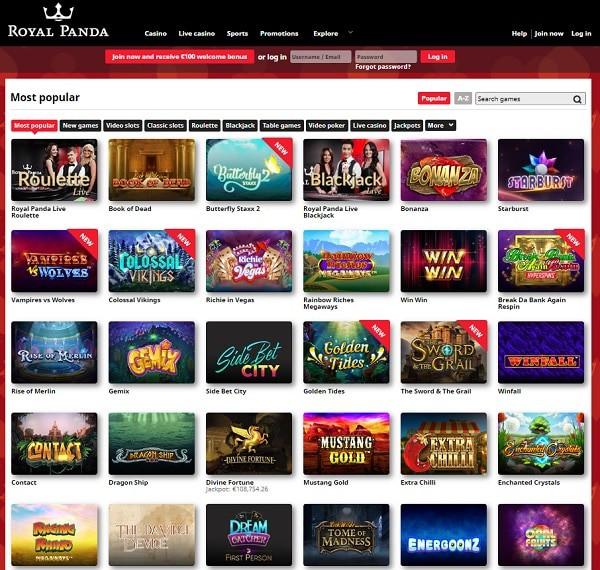 Royal Panda Casino   10 free spins NDB + 100% free bonus   Review
