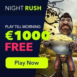 NightRush Casino | 70 free spins & 150% up to €1000 bonus | Review