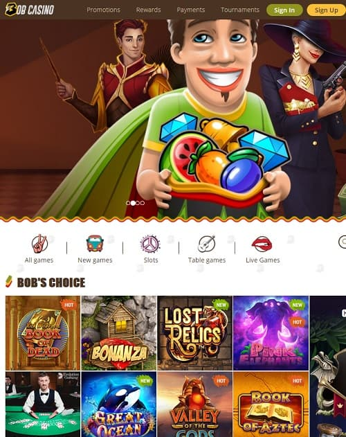 BobCasino.com online and mobile