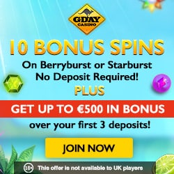 GDay Casino | 10 free spins + 500 EUR bonus + 50 gratis spins | Review