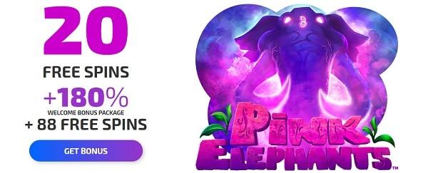 Ivi Casino 20 free spins on Pink Elephant no deposit bonus