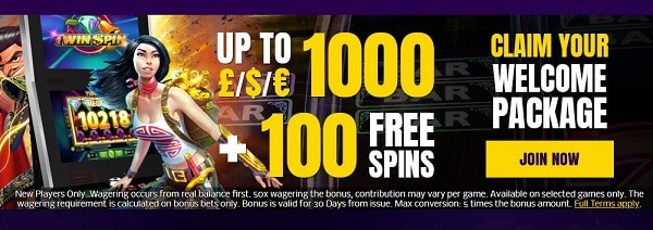 Claim 100 free spins and 1000 EUR welcome bonus