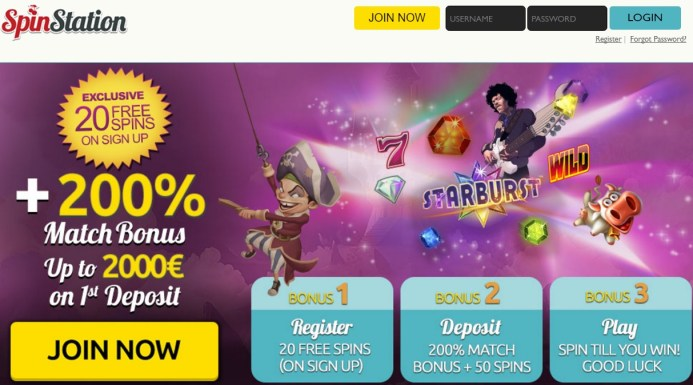 Spin Station Casino 20 free spins no deposit required + 3,000 pounds free bonus