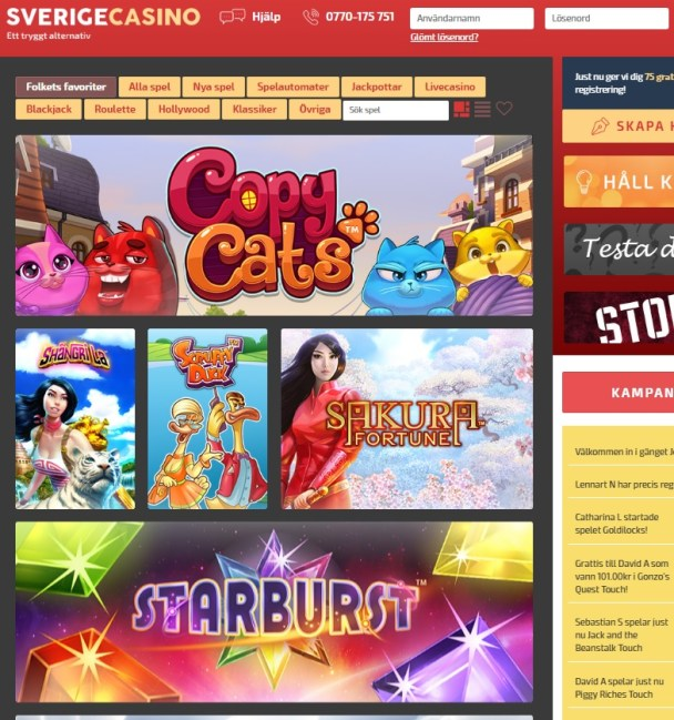 Sverige Casino Online & Mobile - free spins bonus