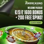 Joker Casino 10 free spins no deposit + €1600 bonus + 190 gratis spins