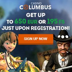 Columbus Casino | 20 free spins no deposit + €650 bonus + 195 FS