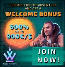 Wira Casino €/$1000 free bonus and free spins on 1st deposit!