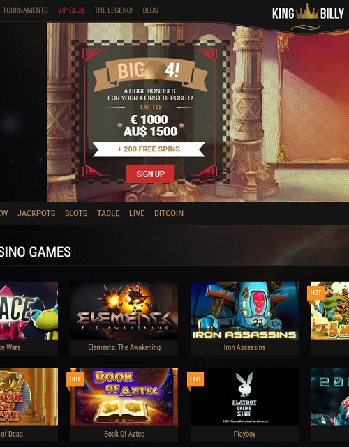 King Billy Online Casino BTC, EUR, USD, AUD