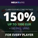 Megawins Casino 150% up to 1000€ or 1 BTC bonus + Free Spins!