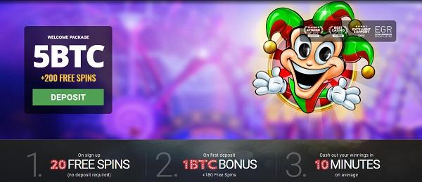 BitStarz.com 500 EUR and 5 BTC welcome bonus plus 200 free spins (20 FS no deposit bonus)
