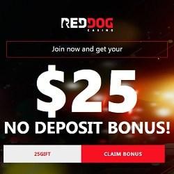 Red Dog Casino $25 free no deposit + 225% welcome bonus