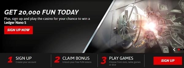 CasinoFair 20,000 FUN tokents free bonus