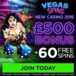 Vegas Spins Casino 60 slot free spins and £500 deposit bonus