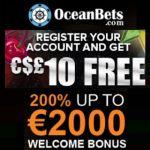 OceanBets Casino | 10€ no deposit code and 200% welcome bonus