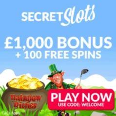 SECRET SLOTS - 100 free spins and 200% up to £1000 casino bonus