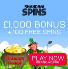 Shanghai Spins Casino £1000 free bet and 100 free spins on slots
