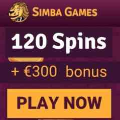 SIMBA GAMES | 10 gratis spins + 120 free spins + €300 casino bonus