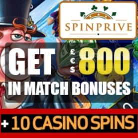 Spinprive Casino 10 free spins + 250% bonus + €800 gratis