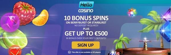 Hello Casino 10 bonus spins no deposit required