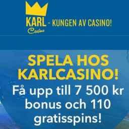 KARL CASINO - 110 gratis spins and 150% up to 7500 kr free bonus