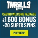 Thrills Casino 20 free spins and €1500 welcome bonus