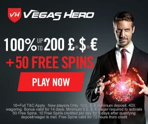 Vegas Hero Casino [review] 50 free spins and €1000 bonus codes