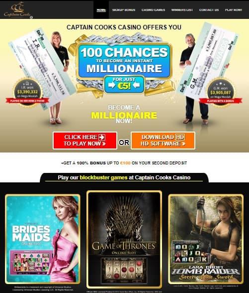 Captain Cook's Casino free spins bonus