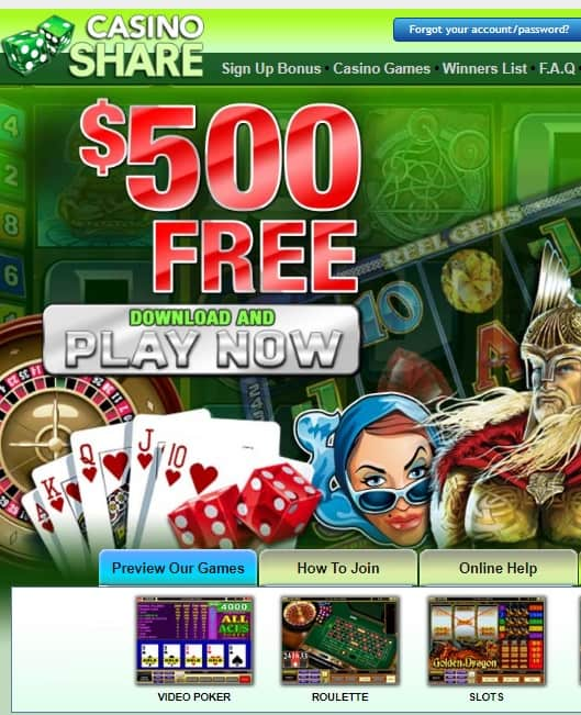 Casino Share free spins bonus