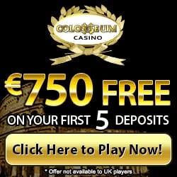 Colosseum Casino 100 free spins and 210% up to $/€750 free bonus