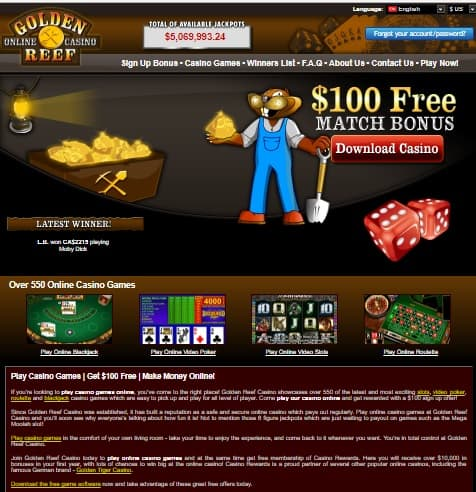 Golden Reef Casino free spins bonus