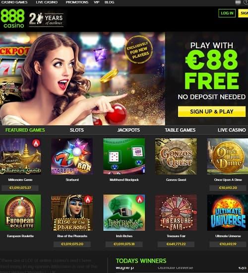 888Casino.com free spins bonus