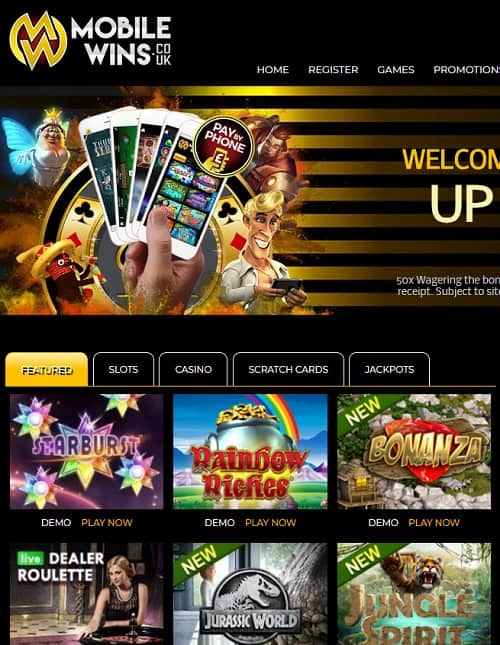 MobileWins.co.uk Casino free spins