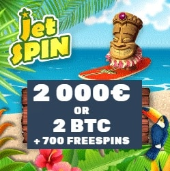 JetSpin Casino 700 gratis spins and €2000 (or 2 BTC) welcome bonus