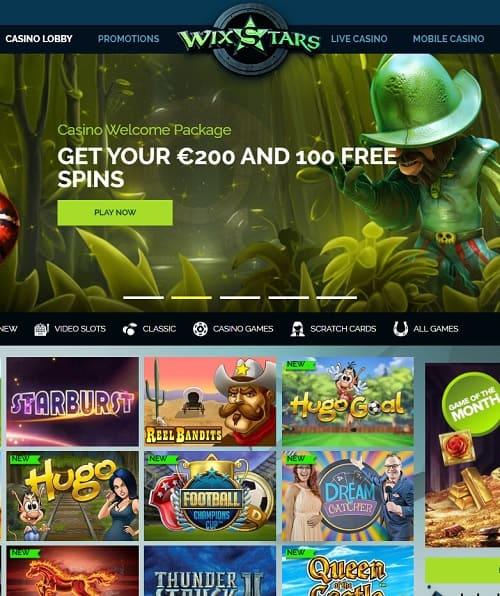 Wixstars Casino free spins bonus