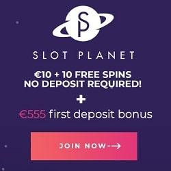Slot Planet Casino €10 gratis and 10 free spins - no deposit bonuses