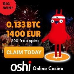 Oshi.io Crypto Casino 290 free spins + 0.133 BTC or 1400 EUR bonus