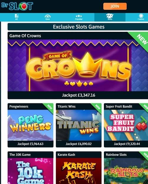 Dr Slot Casino - 20 free spins no deposit bonus for UK players