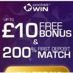 Pocket Win Casino £10 no deposit + 200% free bonus for UK